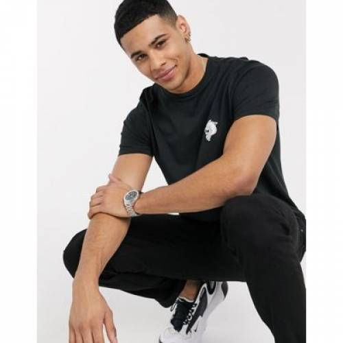 Tシャツ 黒 ブラック メンズファッション トップス カットソー 【 BLACK NEW LOOK TIGER CHEST PRINT TSHIRT IN 】