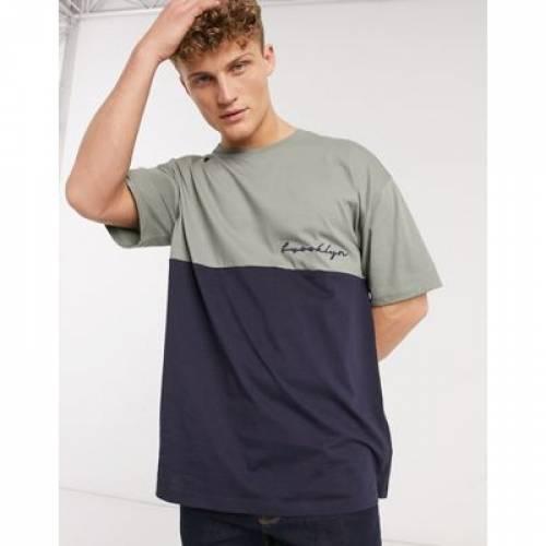 ブルックリン Tシャツ 紺 ネイビー メンズファッション トップス カットソー 【 NAVY NEW LOOK BROOKLYN EMBROIDERED TSHIRT IN 】