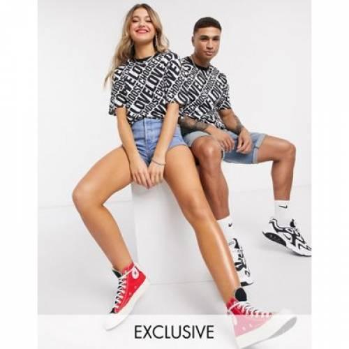 Tシャツ メンズファッション トップス カットソー 【 HELP REFUGEES CHOOSE LOVE UNISEX OVERSIZED TSHIRT IN MONO PRINT 】