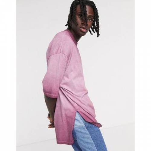 Tシャツ ハーフ スリーブ ピンク メンズファッション トップス カットソー 【 SLEEVE PINK ASOS DESIGN OVERSIZED LONGLINE TSHIRT WITH HALF AND STEPPED HEM IN PIGMENT WASH 】