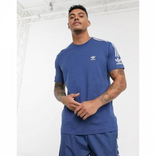 Tシャツ 青 ブルー メンズファッション トップス カットソー 【 BLUE ADIDAS ORIGINALS TSHIRT WITH 3 STRIPES IN 】