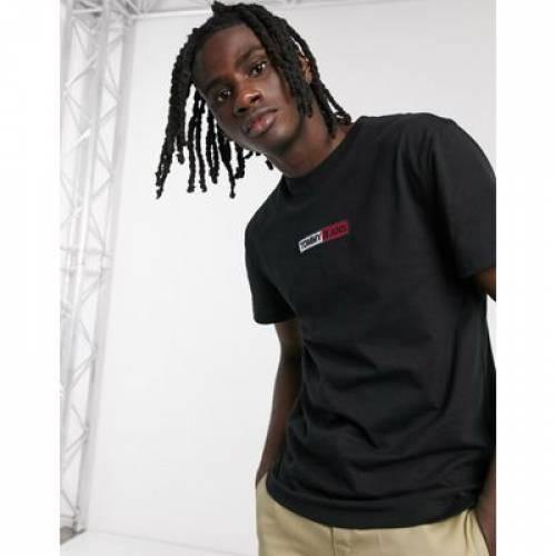 ボックス ロゴ Tシャツ 黒 ブラック メンズファッション トップス カットソー 【 BLACK TOMMY JEANS EMBROIDERED BOX CHEST LOGO TSHIRT IN 】