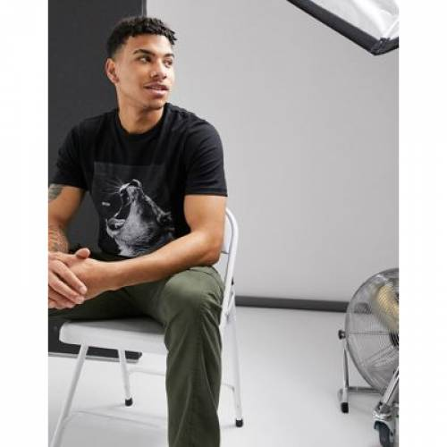 Tシャツ 黒 ブラック メンズファッション トップス カットソー 【 BLACK BOSS TROAAR 2 LION PRINT TSHIRT IN 】