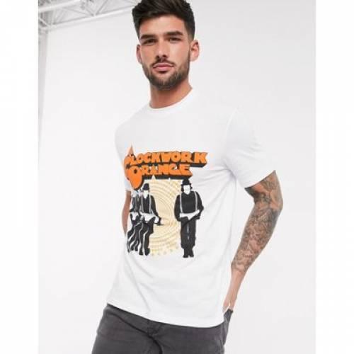 橙 オレンジ Tシャツ メンズファッション トップス カットソー 【 ORANGE ASOS DESIGN CLOCKWORK TSHIRT WITH LARGE FRONT PRINT 】