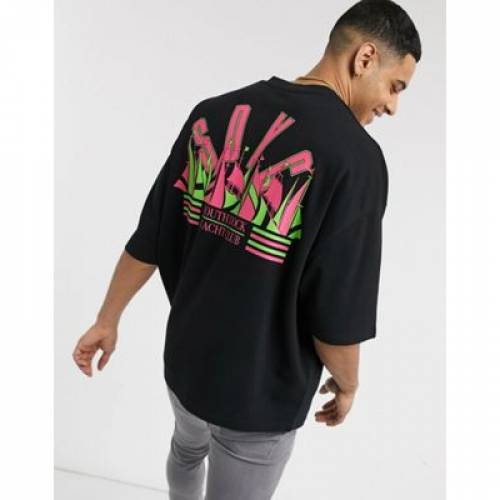Tシャツ メンズファッション トップス カットソー 【 ASOS DESIGN OVERSIZED TSHIRT WITH SPORTS V NECK AND BACK PRINT IN PIQUE 】