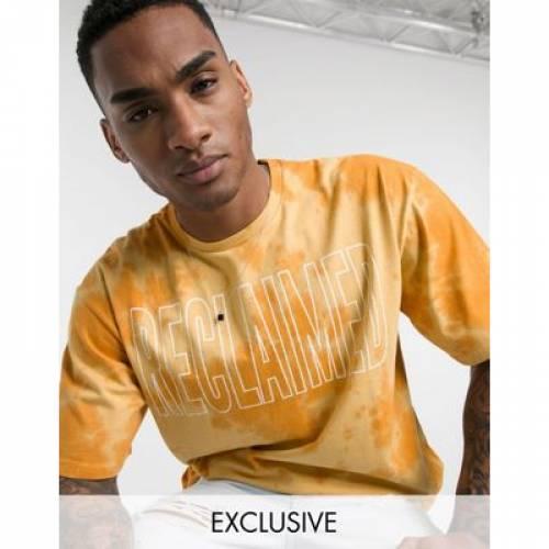 ビンテージ ヴィンテージ ロゴ Tシャツ 橙 オレンジ メンズファッション トップス カットソー 【 VINTAGE ORANGE RECLAIMED INSPIRED TIE DYE LOGO PRINT TSHIRT IN 】