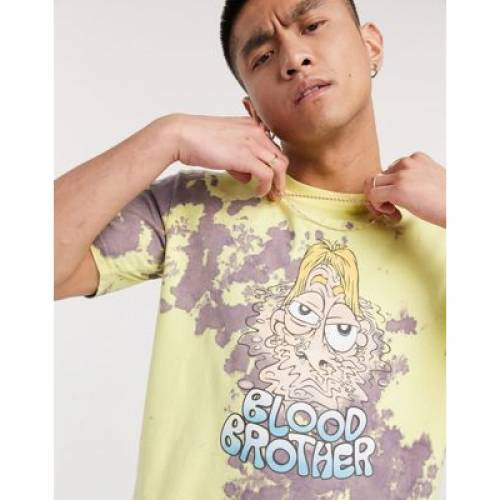 Tシャツ メンズファッション トップス カットソー 【 BLOOD BROTHER PRINTED BLEACHED TSHIRT IN LEMON VIOLET 】