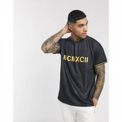 Tシャツ 黒 ブラック メンズファッション トップス カットソー 【 BLACK NEW LOOK NUMERAL PRINT TSHIRT IN 】