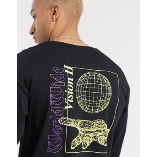 オリジナルス スリーブ Tシャツ 黒 ブラック & メンズファッション トップス カットソー 【 SLEEVE BLACK JACK JONES ORIGINALS BOXY LONG TSHIRT WITH BACK AND PRINT IN 】