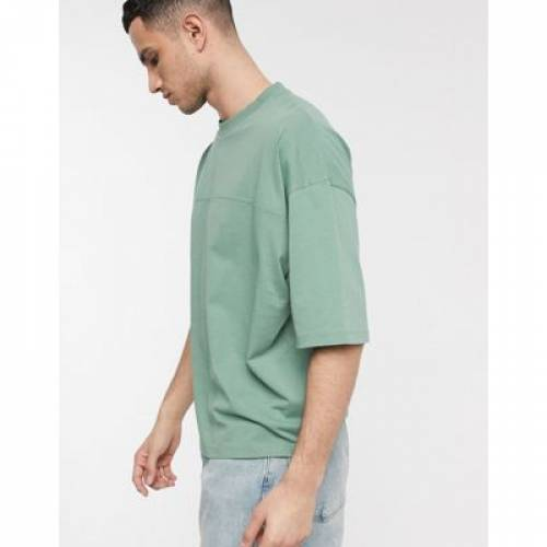 Tシャツ 緑 グリーン メンズファッション トップス カットソー 【 GREEN ASOS DESIGN OVERSIZED TSHIRT WITH SEAM IN 】
