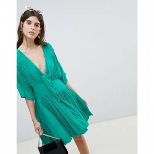 ドレス レディースファッション ワンピース 【 ASOS CASUAL MINI TEA DRESS IN CRINKLE WITH BOW 】