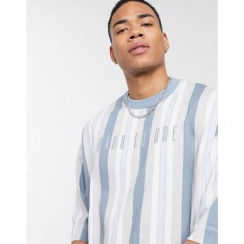 Tシャツ メンズファッション トップス カットソー 【 ASOS DESIGN X DARK FUTURE OVERSIZED LONGLINE STRIPED TSHIRT 】