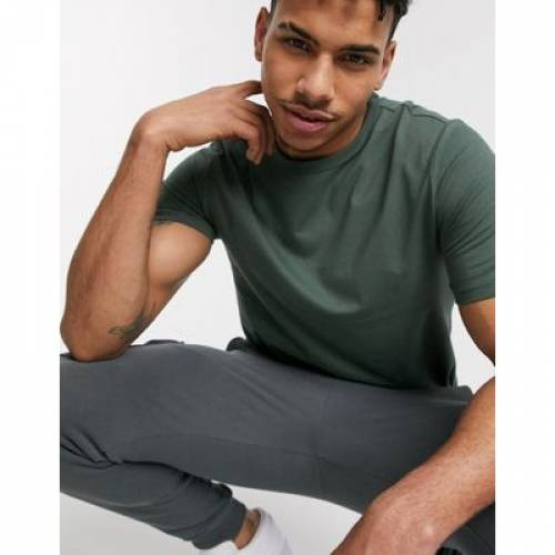 Tシャツ カーキ メンズファッション トップス カットソー 【 RIVER ISLAND CURVE HEM TSHIRT IN KHAKI 】