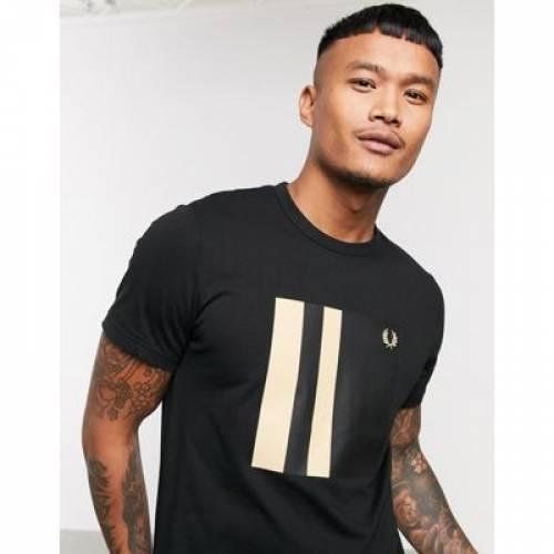グラフィック Tシャツ 黒 ブラック メンズファッション トップス カットソー 【 BLACK FRED PERRY TIPPED GRAPHIC TSHIRT IN 】