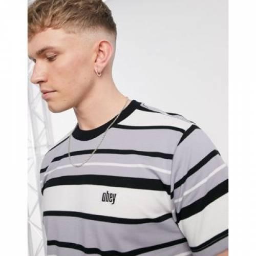 ストライプ Tシャツ GRAY灰色 グレイ メンズファッション トップス カットソー 【 STRIPE GREY OBEY ROLL CALL TSHIRT IN MULTI 】