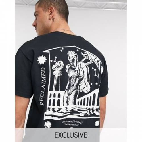 ビンテージ ヴィンテージ Tシャツ 黒 ブラック メンズファッション トップス カットソー 【 VINTAGE BLACK RECLAIMED INSPIRED OVERSIZED TSHIRT WITH BACK GOD PRINT IN 】