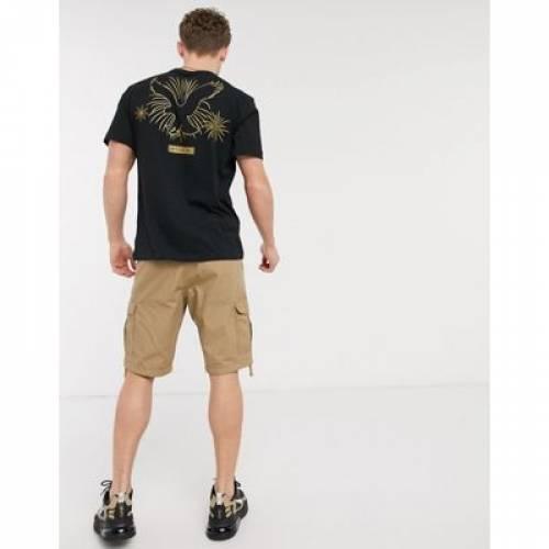 ロゴ Tシャツ 黒 ブラック メンズファッション トップス カットソー 【 BLACK AMERICAN EAGLE CHEST AND BACK LOGO PRINT TSHIRT IN 】