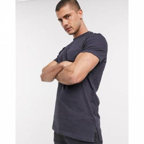 Tシャツ 黒 ブラック メンズファッション トップス カットソー 【 BLACK ASOS DESIGN LONGLINE TSHIRT WITH SIDE SPLITS IN WASHED 】