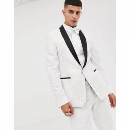 白 ホワイト メンズファッション コート ジャケット 【 WHITE ASOS EDITION SKINNY TUXEDO SUIT JACKET IN SEQUIN AND LACE EMBELLISHED SATEEN 】 ※セットアップではありません