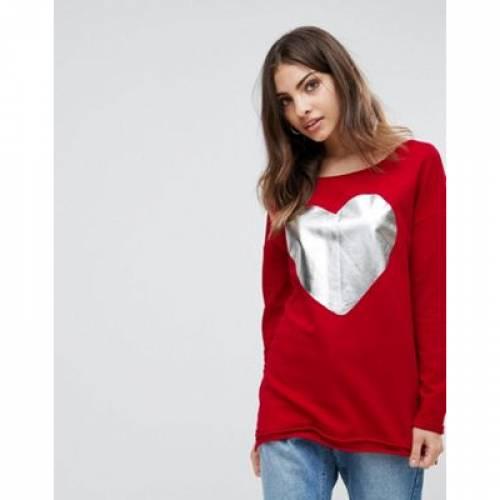 レディースファッション トップス スウェット トレーナー 【 ONLY VALENTINE HEART FOIL SWEATER 】