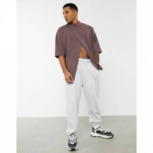 Tシャツ 茶 ブラウン メンズファッション トップス カットソー 【 BROWN ASOS DESIGN OVERSIZED HEAYWEIGHT TSHIRT WITH FRONT SPLIT IN 】