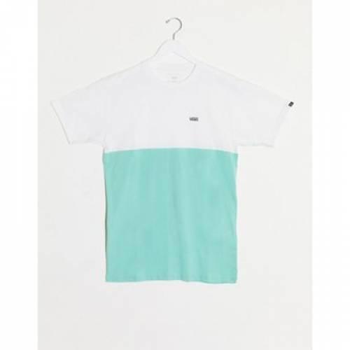バンズ Tシャツ メンズファッション トップス カットソー 【 VANS COLOURBLOCK TSHIRT IN GREEN WHITE EXCLUSIVE AT ASOS 】