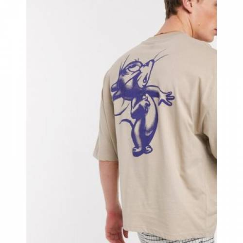 Tシャツ メンズファッション トップス カットソー 【 ASOS DESIGN TOM AND JERRY OVERSIZED TSHIRT WITH LARGE RAISED BACK PRINT 】