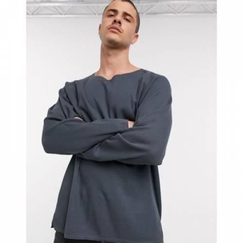 ワッフル スリーブ Tシャツ 黒 ブラック メンズファッション トップス カットソー 【 SLEEVE BLACK ASOS DESIGN OVERSIZED WAFFLE LONG TSHIRT WITH NOTCH NECK IN WASHED 】