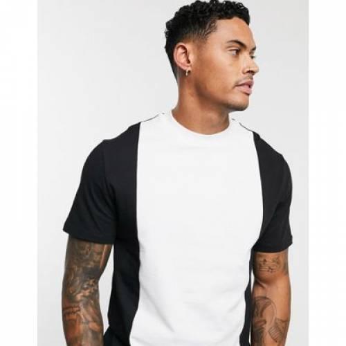 Tシャツ 黒 ブラック メンズファッション トップス カットソー 【 BLACK ASOS DESIGN TSHIRT WITH VERTICAL PANEL IN 】