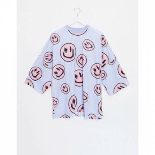 Tシャツ メンズファッション トップス カットソー 【 ASOS DESIGN COORD OVERSIZED LONGLINE TSHIRT WITH ALL OVER SMILEY FACES PRINT IN LILAC 】