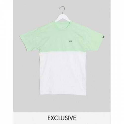 バンズ Tシャツ 緑 グリーン メンズファッション トップス カットソー 【 VANS GREEN COLOURBLOCK TSHIRT IN PASTEL EXCLUSIVE AT ASOS 】
