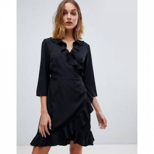 ラップ ドレス レディースファッション ワンピース 【 WRAP VERO MODA RUFFLE DRESS 】