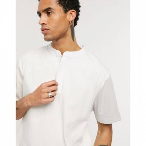 Tシャツ ジャージ メンズファッション トップス カットソー 【 ASOS DESIGN RELAXED TSHIRT IN HEAVYWEIGHT JERSEY AND GRANDAD COLLAR 】
