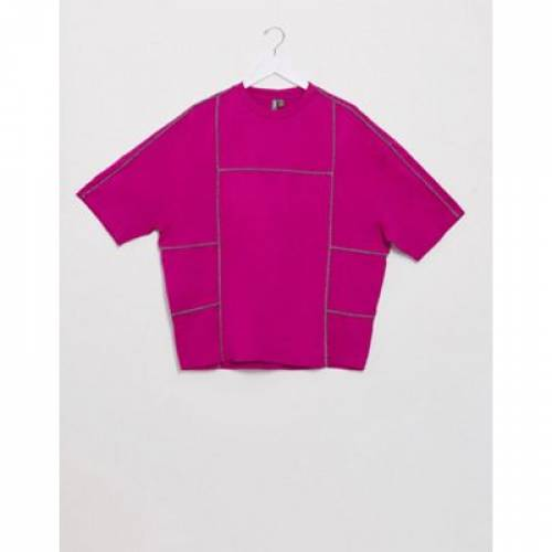 Tシャツ ハーフ スリーブ ピンク メンズファッション トップス カットソー 【 SLEEVE PINK ASOS DESIGN TSHIRT WITH HALF MONOCHROME PIPING IN 】