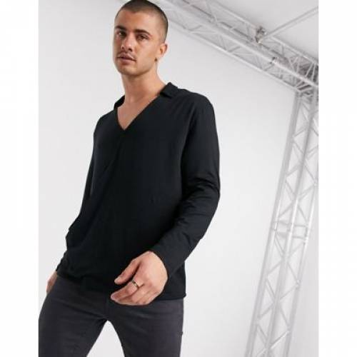スリーブ 黒 ブラック メンズファッション トップス Tシャツ カットソー 【 SLEEVE BLACK ASOS DESIGN RELAXED FIT LONG V NECK REVERE COLLAR TOP IN 】