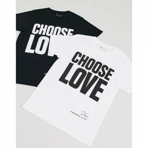 Tシャツ 白 ホワイト メンズファッション トップス カットソー 【 WHITE HELP REFUGEES CHOOSE LOVE UNISEX TSHIRT IN ORGANIC COTTON 】