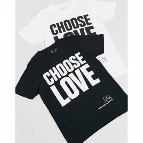 Tシャツ 黒 ブラック メンズファッション トップス カットソー 【 BLACK HELP REFUGEES CHOOSE LOVE UNISEX TSHIRT IN ORGANIC COTTON 】