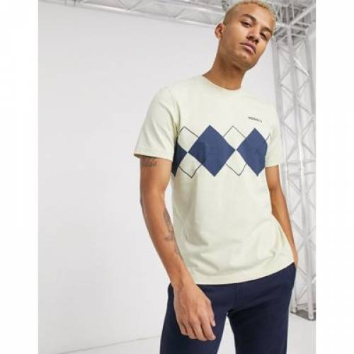 Tシャツ クリーム メンズファッション トップス カットソー 【 ADIDAS ORIGINALS TSHIRT WITH ARGYLE PRINT IN CREAM 】