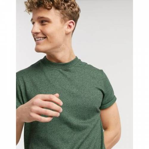 Tシャツ スリーブ 緑 グリーン ジャージ メンズファッション トップス カットソー 【 SLEEVE GREEN ASOS DESIGN TSHIRT WITH ROLL IN HEAVYWEIGHT TWISTED JERSEY 】