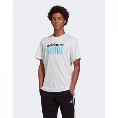 Tシャツ 白 ホワイト メンズファッション トップス カットソー 【 WHITE ADIDAS ORIGINALS SPORT TSHIRT IN 】