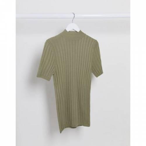 Tシャツ カーキ メンズファッション トップス カットソー 【 ASOS DESIGN KNITTED MUSCLE FIT RIB TSHIRT IN KHAKI 】