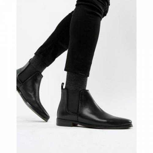 黒 ブラック レザー メンズ ブーツ 【 BLACK ASOS DESIGN CHELSEA BOOTS IN LEATHER WITH SOLE 】
