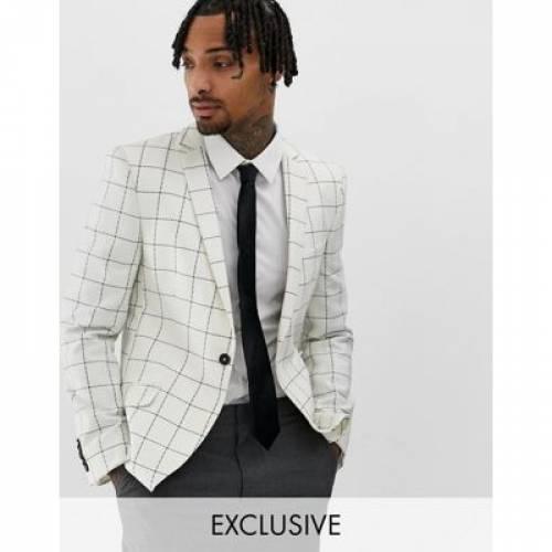 & メンズファッション スーツ セットアップ 【 HEART DAGGER SKINNY SUIT JACKET IN WOOL CHECK 】 ※セットアップではありません