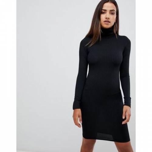 スリーブ ドレス 黒 ブラック レディースファッション ワンピース 【 SLEEVE BLACK PRETTYLITTLETHING BASIC RIBBED ROLL NECK LONG DRESS IN 】