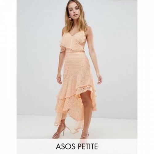 ドレス レディースファッション ワンピース 【 ASOS DESIGN PETITE ASYMMETRIC RUFFLLE BRODERIE MAXI DRESS 】