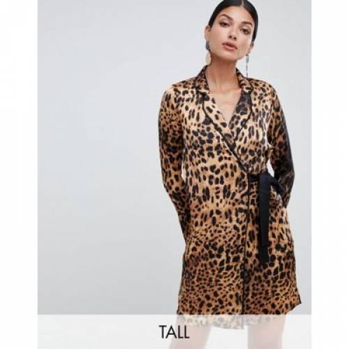 ドレス サテン レディースファッション ワンピース 【 MISSGUIDED TALL TUX DRESS WITH TIE SIDE IN LEOPARD SATIN 】