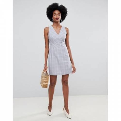 ドレス ブイネック レディースファッション ワンピース 【 OASIS TAILORED SHIFT DRESS WITH VNECK IN CHECK 】