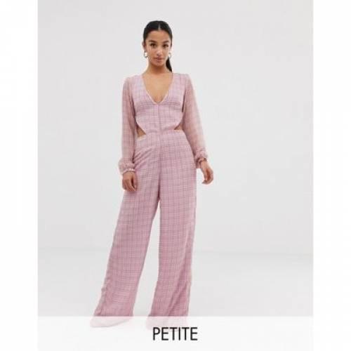 ピンク レディースファッション オールインワン サロペット 【 PINK MISSGUIDED PETITE CHECK FRILL OPEN BACK JUMPSUIT IN 】