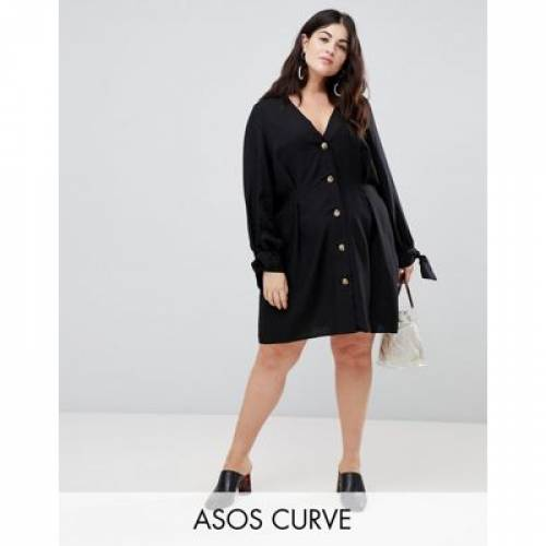 ドレス レディースファッション ワンピース 【 ASOS DESIGN CURVE BUTTON THROUGH MINI SKATER DRESS WITH TIE SLEEVES 】