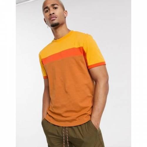 Tシャツ 茶 ブラウン メンズファッション トップス カットソー 【 BROWN ASOS DESIGN TSHIRT WITH COLOUR BLOCK PANELS IN 】